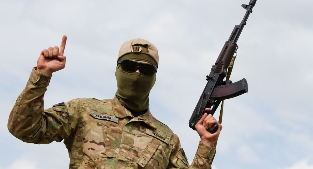 Aidar soldiers pose for picture showing the Islamic sign of faith