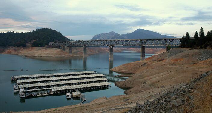 House boats are docked at Lake Shasta's Bay Bridge resort near Redding, California.