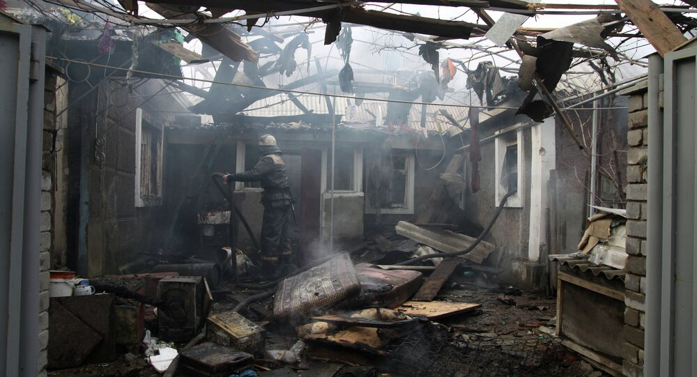 Consequences of artillery attack on Donetsk's Kuibyshevsky District