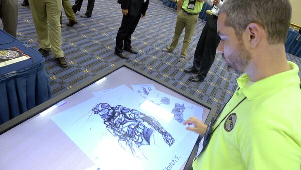 Sketches of the body armor exoskeleton during the Special Operations Forces Industry Conference in Tampa - Sputnik International