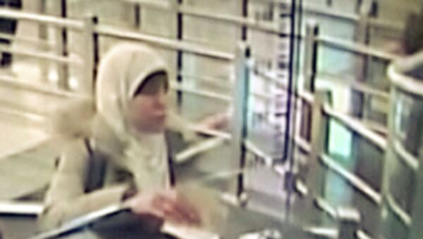Hayat Boumeddiene, the suspected female accomplice of the Islamist militants behind the attacks in Paris, is seen upon her arrival to Turkey in this still image taken from surveillance video at Sabiha Gokcen airport in Istanbul on January 2, 2015. - Sputnik International