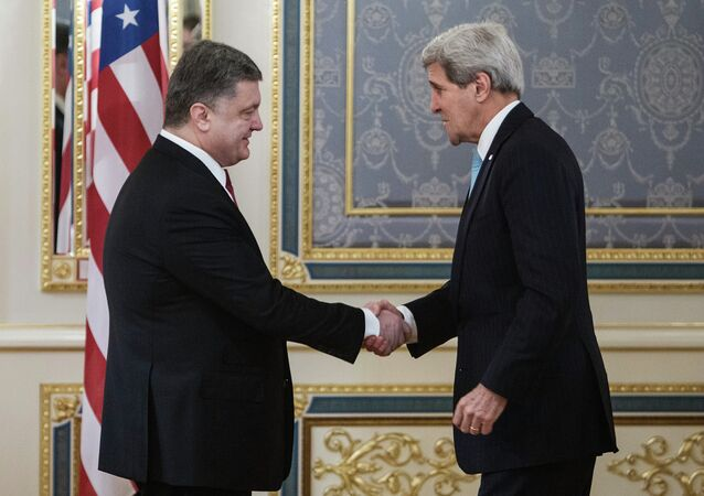Meeting of Ukraine's President Pyotr Poroshenko and US Secretary of State John Kerry