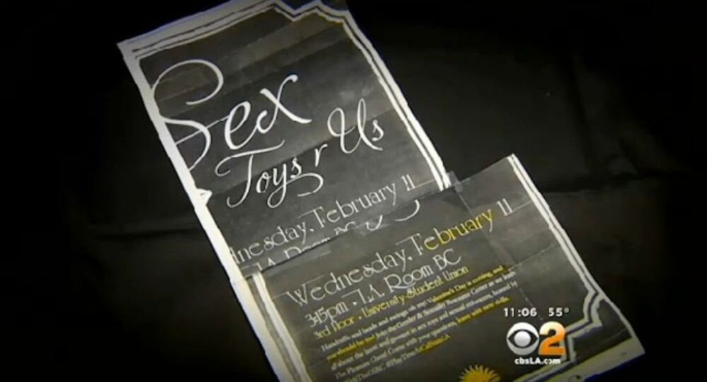 """Flyers for a Sex Toys R Us event at Cal State L.A. advertised """"handcuffs and beads and wings,"""" and were promoting the event on social media under the hashtag """"#PlayTimeAtCalStateLA."""
