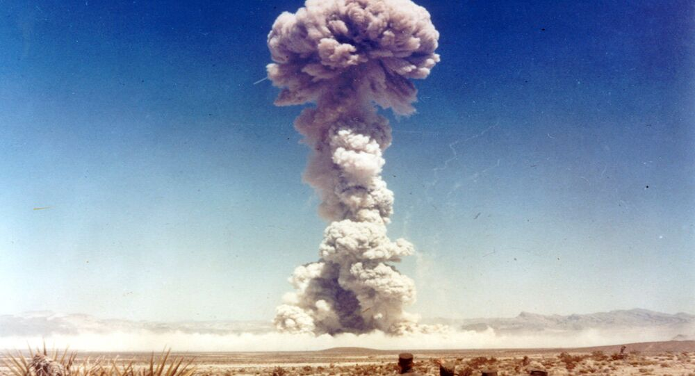 Military personnel observe a nuclear weapons test in Nevada, the United States, in 1951