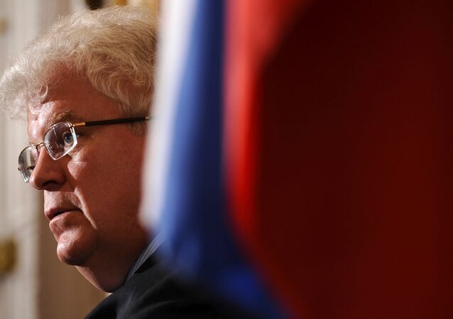 Russian Ambassador to the EU Vladimir Chizhov gives a press conference after the publication of the report by an independent commission.