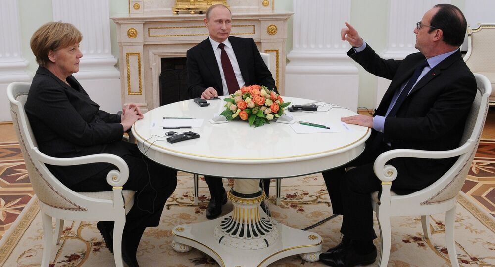 Russian President Vladimir Putin holds meeting with FRG Chancellor Angela Merkel and President of France Francois Hollande