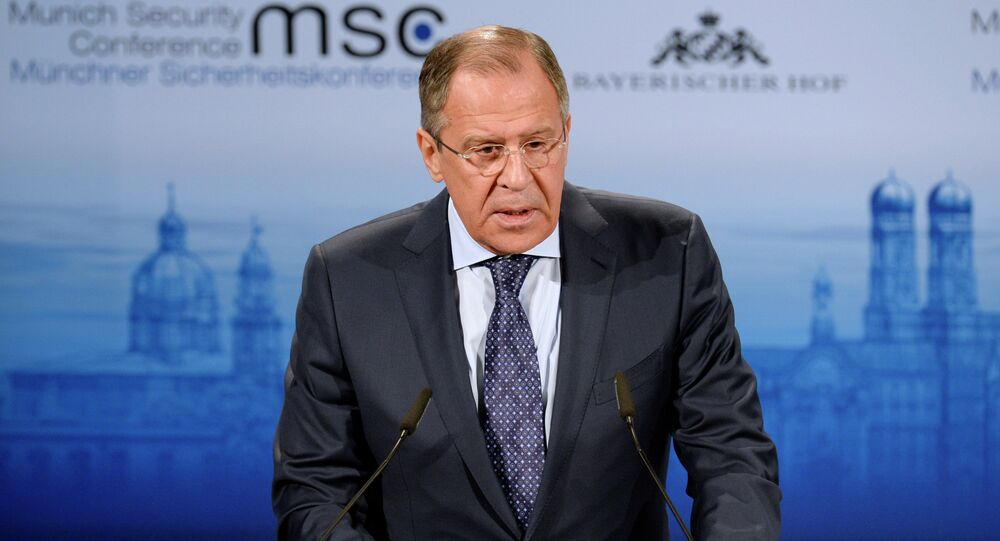 Russian Foreign Minister Sergei Lavrov delivers his speech at the 51st Munich Security Conference (MSC) in Munich, southern Germany, on February 7, 2015