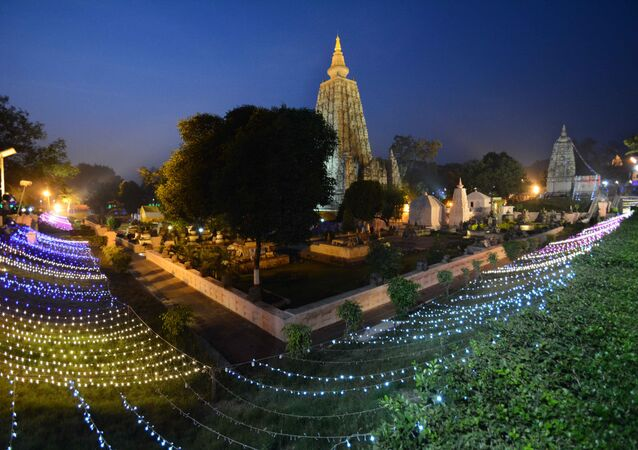 The Mahabodhi temple is illuminated with lights on the occassion of 10th Tipitaka Chanting for World Peace in Bodhgaya in Bihar