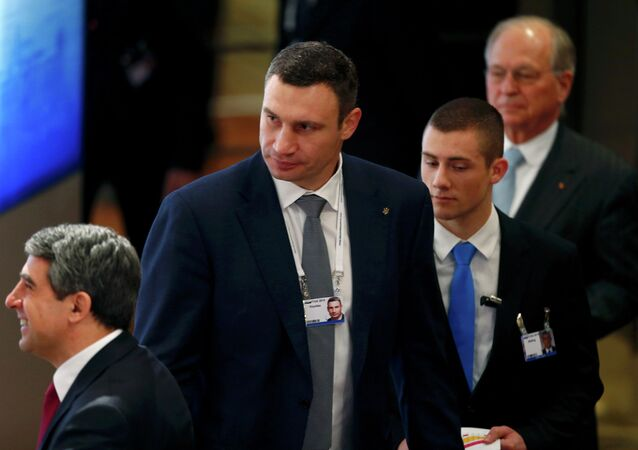 Mayor of Kiev Vitali Klitschko (C) arrives for the opening session of the 51st Munich Security Conference at the 'Bayerischer Hof' hotel in Munich February 7, 2015