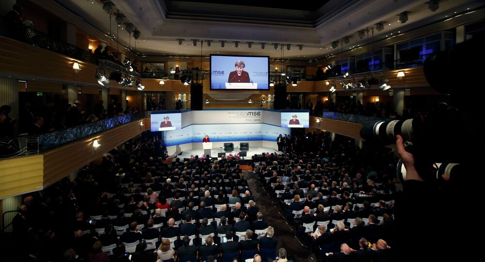 German Chancellor Angela Merkel addresses during the 51st Munich Security Conference at the 'Bayerischer Hof' hotel in Munich February 7, 2015