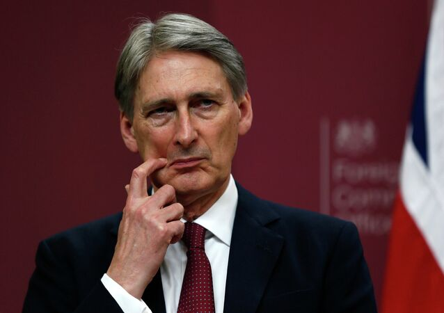 Britain's Foreign Secretary Philip Hammond gestures during a press conference at the Foreign and Commonwealth Office in London