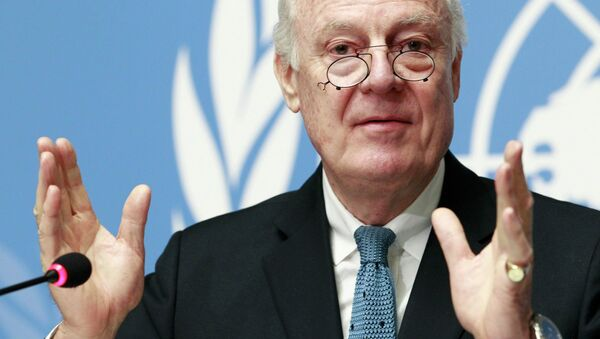 United Nations Special Envoy of the Secretary-General for Syria Staffan de Mistura addresses the media during a press conference at the Palais des Nations in Geneva, January 15, 2015 - Sputnik International