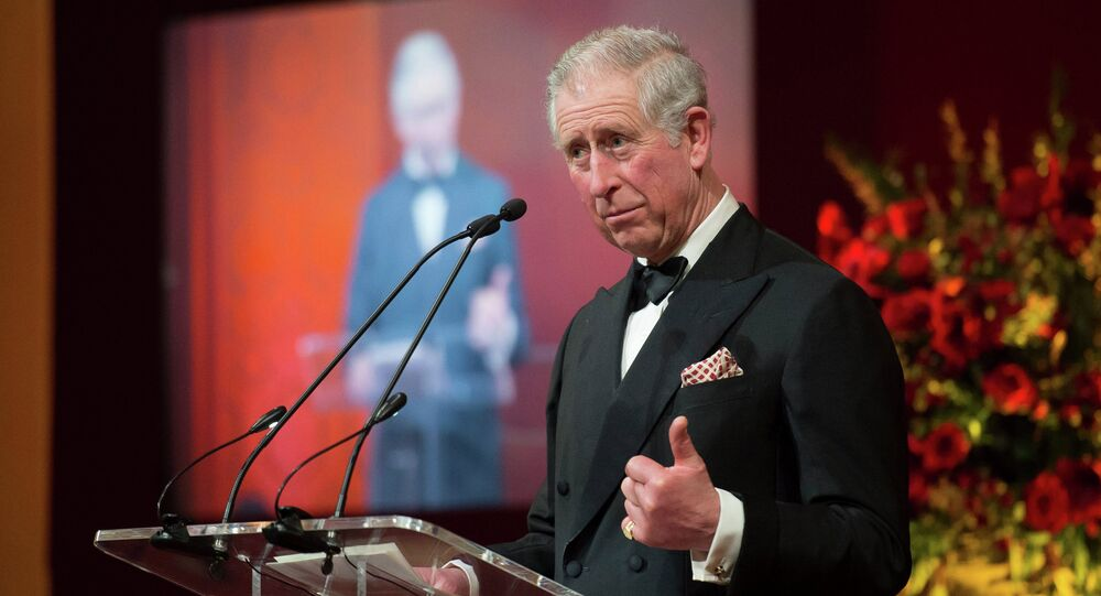 The Prince of Wales gives a speech as he attends the British Asian Trust dinner in central London Tuesday Feb. 3, 2015