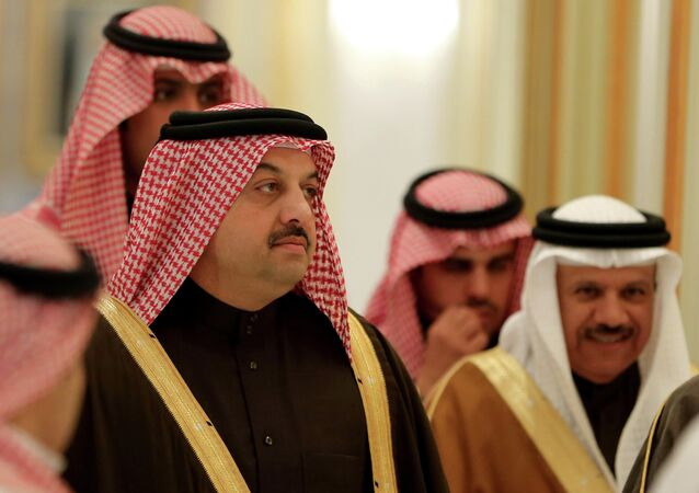 Qatari Foreign Minister Khalid bin Mohamed al-Attiyah (L) attends an emergency meeting of foreign ministers of the Gulf Cooperation Council (GCC) on January 21, 2015 in the Saudi capital Riyadh
