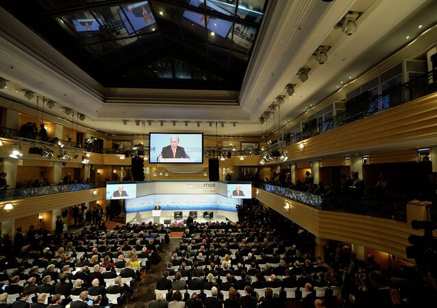 Wolfgang Ischinger, Chairman of the Munich Security Conference delivers his speech during the opening of the 51st Munich Security Conference (MSC) at the Bayerischer Hof Hotel in Munich, southern Germany, on February 6, 2015