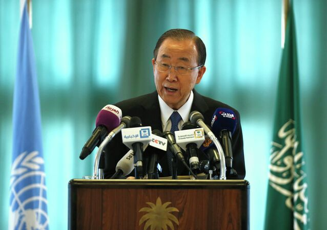 United Nations Secretary General Ban Ki-moon speaks at a news conference in Riyadh February 8, 2015