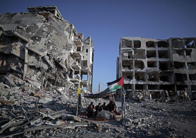 Palestinian men in Gaza