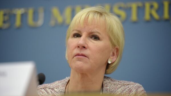 Swedish Foreign minister Margot Wallstrom attends a joint press conference with her Latvian counterpart after their meeting at the Foreign Ministry in Riga on January 23, 2015. File photo. - Sputnik International
