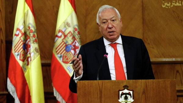 Spanish Foreign Minister Jose Manuel Garcia-Margallo speaks during a joint news conference with his Jordanian counterpart Nasser Judeh at the Ministry of Foreign Affairs in Amman January 12, 2015 - Sputnik International