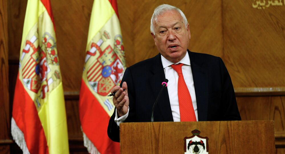 Spanish Foreign Minister Jose Manuel Garcia-Margallo speaks during a joint news conference with his Jordanian counterpart Nasser Judeh at the Ministry of Foreign Affairs in Amman January 12, 2015