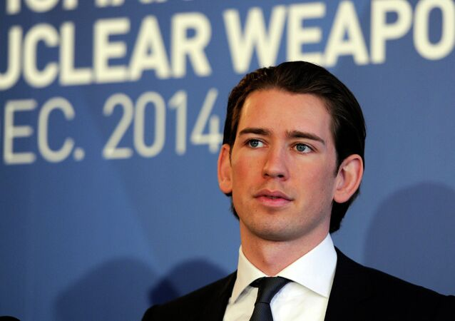Austria's Minister for Foreign Affairs and Integration Sebastian Kurz speaks at the International conference on the humanitarian impact of nuclear weapons, on December 8, 2014 in Vienna