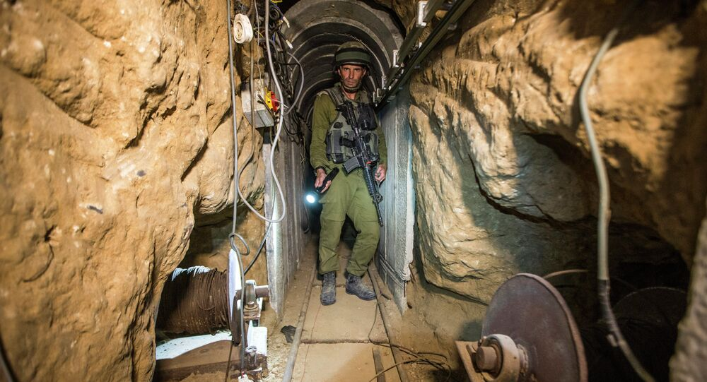 An Israeli army officer during an army-organised tour in a tunnel said to be used by Palestinian militants from the Gaza Strip. File photo