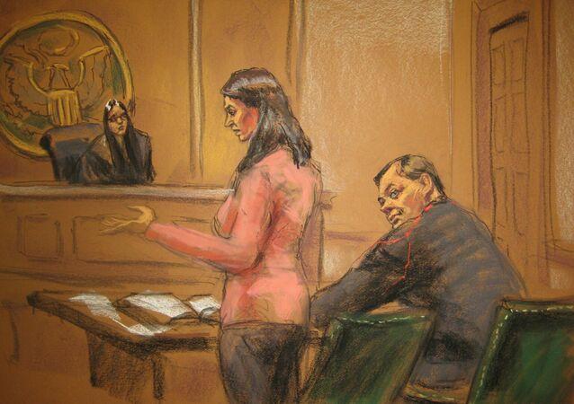 Judge Sarah Netburn listens to defence attorney Sabrina Shroff as Evgeny Buryakov sits in court in New York, January 26, 2015