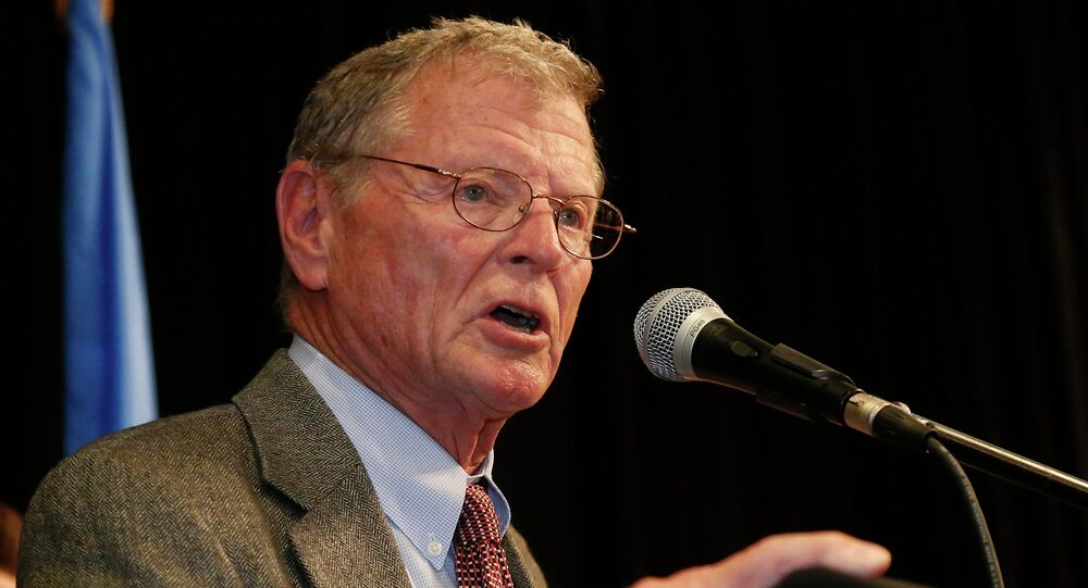 Senator James Inhofe, R-Oklahoma, gestures during his victory speech at the Republican watch party in Oklahoma City, Tuesday, November 4, 2014.