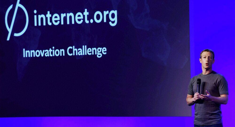 Facebook CEO Mark Zuckerberg addresses the internet.org summit in New Delhi, India, Thursday, Oct.9, 2014