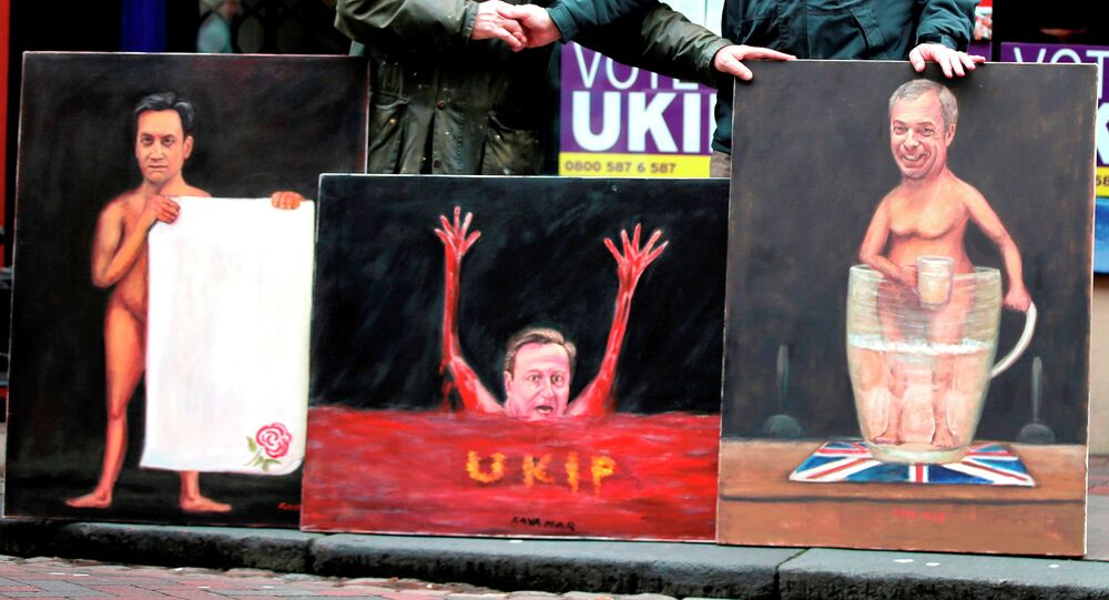 Paintings depicting UK parties' leaders by Kaya Mar, a political painter