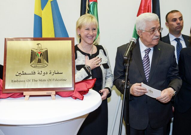 Mahmoud Abbas gives a speech during the inauguration of the Embassy of The State Of Palestine in central Stockholm, Sweden, Tuesday, Feb. 10, 2015