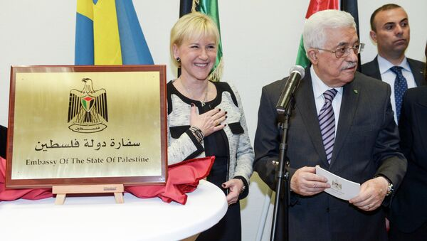 Mahmoud Abbas gives a speech during the inauguration of the Embassy of The State Of Palestine in central Stockholm, Sweden, Tuesday, Feb. 10, 2015 - Sputnik International