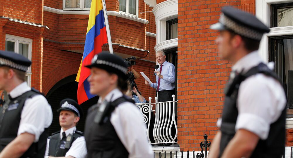 WikiLeaks founder Julian Assange, surrounded by British police, is seen standing in a window of Ecuadorian Embassy in central London.