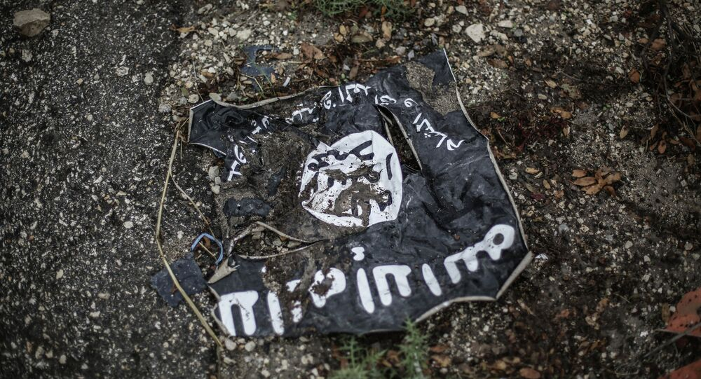 Flag of the Islamic State in the conflict zone