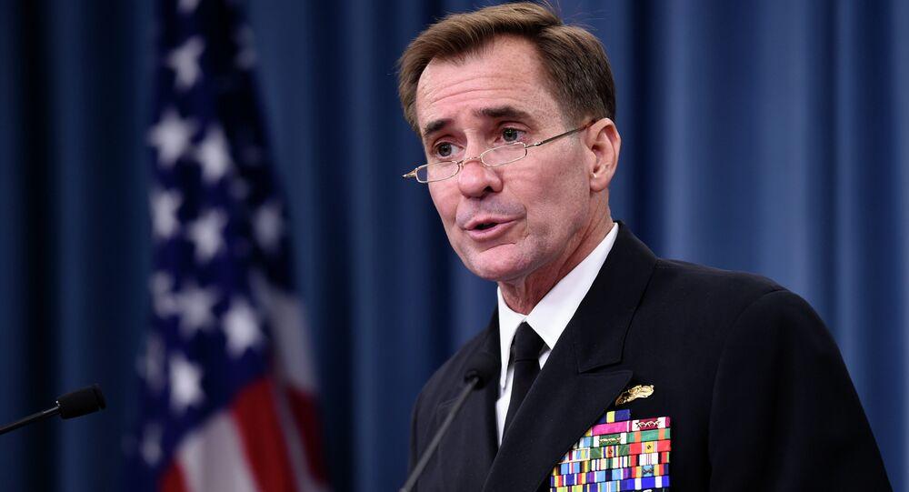 Pentagon press secretary Navy Rear Adm. John Kirby speaks during a briefing at the Pentagon