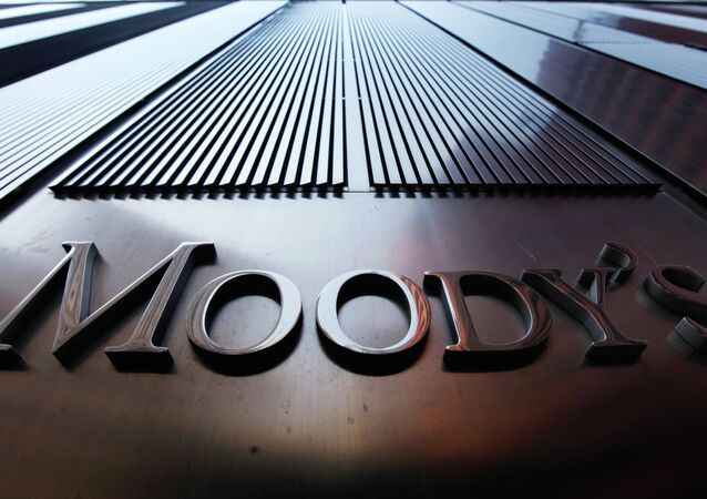A Moody's sign on the 7 World Trade Center tower is photographed in New York in this file photo from August 2, 2011.