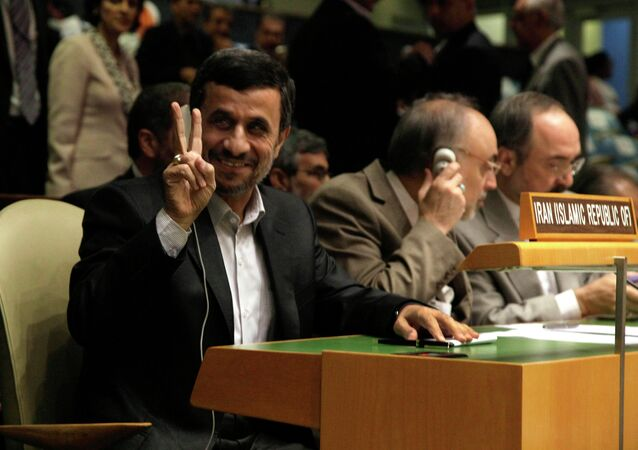 Iran's President Mahmoud Ahmadinejad gestures at the United Nations General Assembly.
