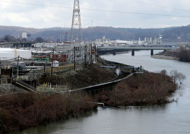 A chemical plant located along a branch of the Kanawaha River in Charleston, W.Va.,