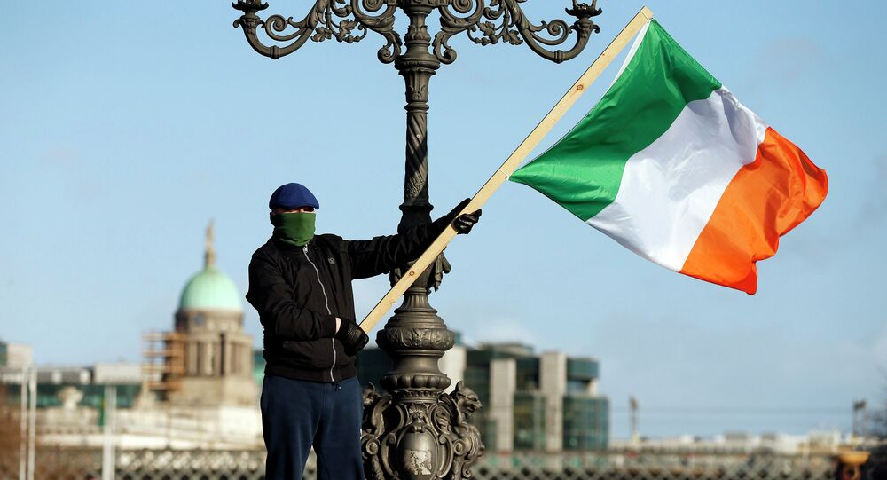 A demonstrator waves the national flag as people gather to protest against austerity policies and increases in water bills, according to local media, in central Dublin