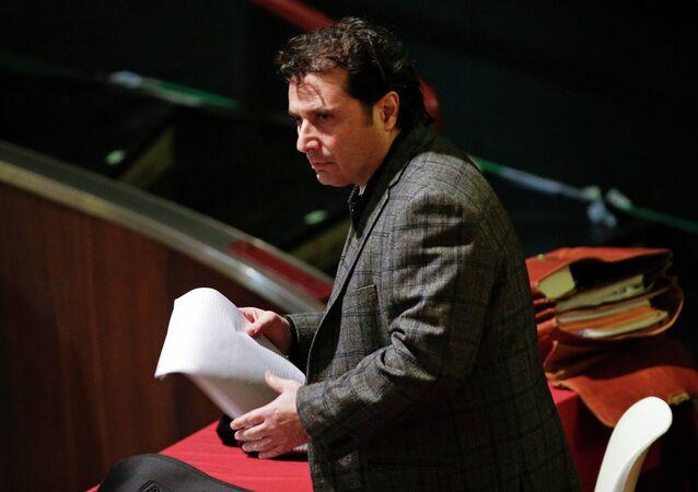 Captain of the Costa Concordia cruise liner Francesco Schettino prepares to read a speech during his trial in Grosseto February 11, 2015.
