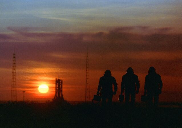 Astronauts at the Baikonur space center