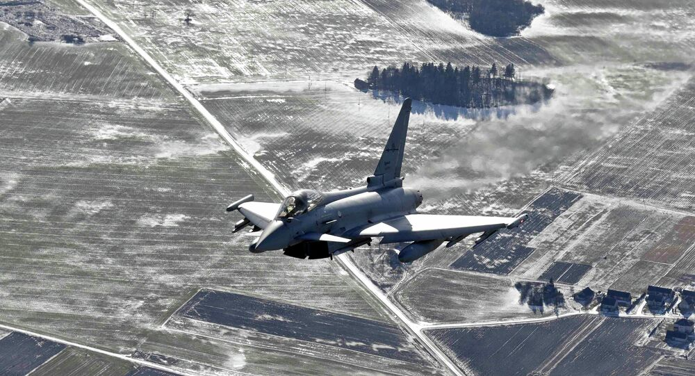 An Italian Air Force Eurofighter Typhoon fighter patrols, file photo.