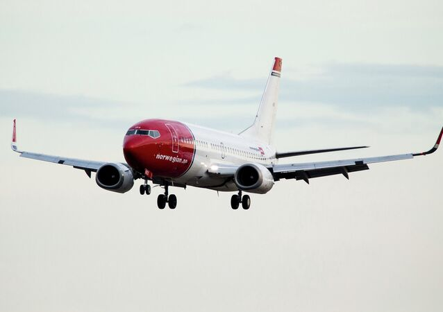 Boeing 737-33S operated by Norwegian Air Shuttle ahead of landing at the Oslo Airport Gardemoen.