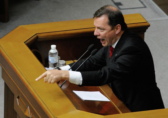 Ukrainian Radical Party leader Oleh Lyashko at an extraordinary meeting of Ukraine's Verkhovna Rada in Kiev