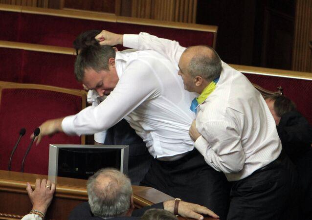 Fight in Verkhovna Rada in Kiev
