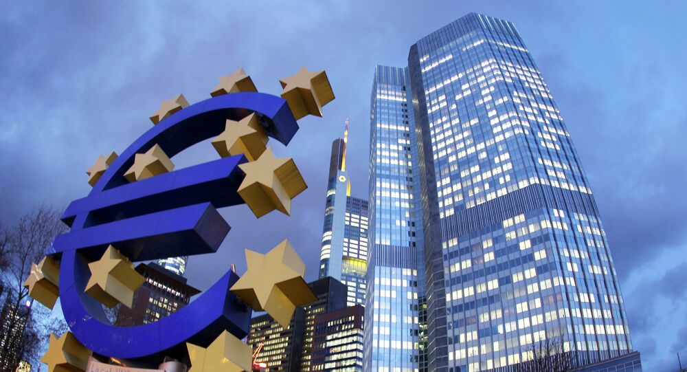 Euro sculpture stands in front of the European Central Bank, right, in Frankfurt, Germany. (File)