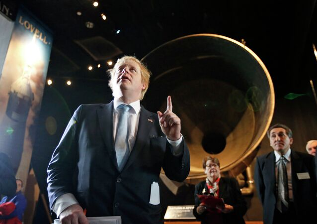 London Mayor Boris Johnson, left, during a visit to the Smithsonian National Air and Space Museum, Thursday, Feb. 12, 2015 in Washington, D.C.