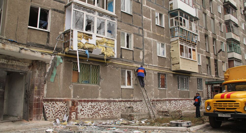 Town of Horlivka after shelling by Ukrainian army