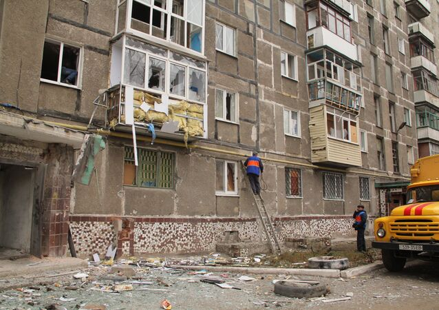 The residential building on 17 Bessonova Street in the town of Gorlovka, destroyed in the Ukrainian army's shelling on Nov. 14 which left five people killed, including the Bulayevs family.