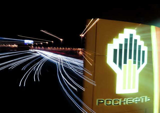 The sign of a Rosneft gas station in Moscow